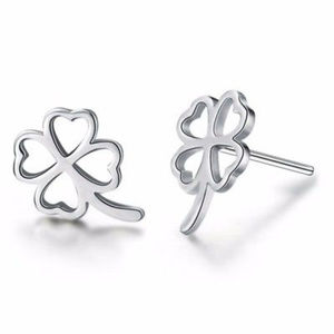 Jewelry - 🍀 18K White Gold Filled Clover Stud Earrings 🍀